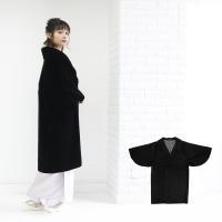 (アゲハラコート) 着物 コート 冬 アゲハラ 黒 日本製 女性 レディース 和装コート ベルベット へちま衿 和装 防寒コート