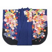 二尺袖着物 単品 卒業式に 絵羽柄の二尺袖(小振袖)合繊「紺色 花手鞠と貝桶」DEN607