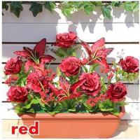 ●代引き不可 送料無料(HC-1P)薔薇プランター 造花 レッド 92851