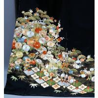 SALEセール フルオーダー 手縫い仕立て付き 正絹 黒留袖  to-215 古典  総手刺繍 正絹 特選品 結婚式