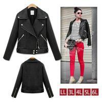 大きいサイズの服 レディース ライダースジャケット 黒 フェイクレザージャケット ブルゾン LL 3...