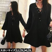 大きいサイズの服 レディース 七分袖ワンピース 黒ワンピ レースアップ Aライン LL 3L 4L ...