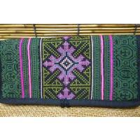 長財布 モン族ダークカラー 個性的財布 民族 たっぷり入る財布 アジアン エスニック 刺繍財布