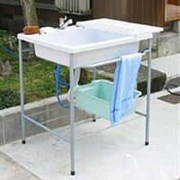 設置簡単!蛇口付の簡易流し台 屋外専用 ・組立式   [仕様] カラー:ミカゲ   寸法(約):幅6...