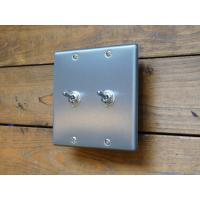 トグルスイッチプレート フラットスクエア 2個用 リード線付  インダストリアル lamps1122 02