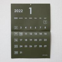 カレンダー A3 壁掛け カーキ オリーブ 白文字 2019年4月始まり対応可能 中綴じ