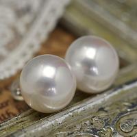 特大13mm ホワイト ボタン淡水真珠ピ アス/イヤリング シャボン玉カラー浮かぶ超特大サイズ 品格と華やかさを放つ圧倒的存在感