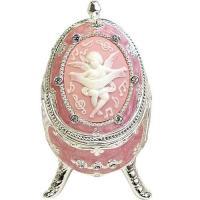オルゴール エッグ型宝石箱 カメオ天使 ピンク