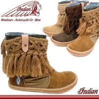 インディアン ブーツ 靴 レディース ID1268  ニットの縁取りとフリンジを施した可愛いインディ...