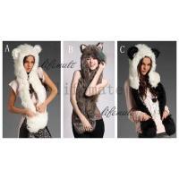 ヨーロッパ人気デザイン レディース 毛皮帽子 パンダマフラー