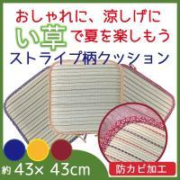 い草クッション い草でお部屋をおしゃれに! ストライプ 角型 紐付き 約43×43cm 正方形 レイヤー 天然 自然 涼感 涼しい ひんやり 防カビ さらっと さらさら