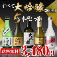 在庫処分訳ありアウトレット特価 通常3,480→2,980円 日本酒 ギフト すべて大吟醸 300ml 5本 飲み比べ 詰め合わせ 日本酒 セット プレゼント 贈答 贈り物