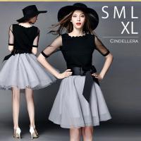 扱いやすいツーピースドレス! シフォンの透け感が美しい。 スカートのウエスト部分はゴムになっているか...