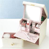 【商品名】メイクボックス コスメボックス 鏡付き COFFRET〔コフレ〕メイクBOX ホワイト