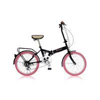 【商品名】折りたたみ自転車 20インチ/ピンク シマノ6段変速 【MIWA】 ミワ FD1B-206