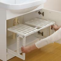 洗面下フリーラック 伸縮タイプ ( 洗面所 収納棚 シンク下 )