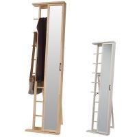 ●スライドさせて扉を開けると小物収納できます。 ●扉を右に閉めればバッグやストール等、長いものがかけ...