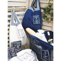 トートバッグ マリン柄 折り畳み コンパクト収納 ( エコバッグ レジかごバッグ 買い物バッグ )