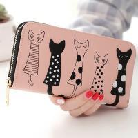 【ピンク他全4色】かわいい猫ちゃん レディース財布 レディース長財布 可愛い長財布 女性へのプレゼントに最適な長財布