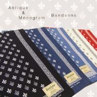 バンダナ スカーフ モノグラム スペード柄 日本製 おしゃれ ナチュラル ハンカチ