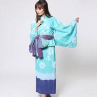 【チャイハネ】しぼり染めタイダイセパレート浴衣 ターコイズブルー