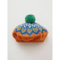 【チャイハネ】マンダラニットベレー帽 オレンジ
