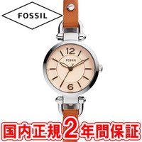フォッシル レディース腕時計 ジョージア 26mm アンバーガラス/シルバー/ブラウンレザー FOS...