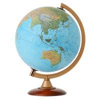 文字が読みやすいシンプルで美しい地図です。球径:25cm/地勢図/プラスチックフレーム&純木製台座 ...