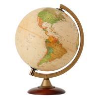 おしゃれなアンティーク調地球儀。球径:25cm/行政図/プラスチックフレーム&純木製台座  ■球径:...