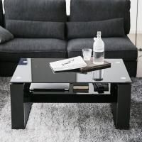 ワンルームにも、リビングにもハマるサイズ感。木目とブラックガラスが美しいセンターテーブルです。  サ...