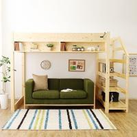 ロフトベッド セミダブル 木製 階段付き すのこ システム 棚付き コンセント付き 天然木 子供部屋 ハイタイプ SD おしゃれ ロウヤ LOWYA