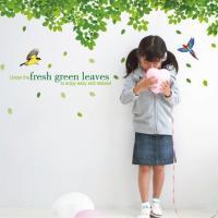 ウォールステッカー 鳥と木々 2枚組 リーフ グリーン 葉 北欧 シール 壁紙 ポスター 植物 リーフ かわいい おしゃれ