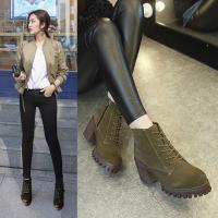 ショートブーツ レディース ローヒール 厚底 裏起毛 大きいサイズ 靴 無地 カジュアルシューズ 美...