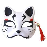 花鳥風月 きつね面 白/黒耳 半面 お面 狐 ホワイト ハーフマスク