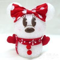 ディズニーのクリスマスデコレーション、かわいい雪だるま型ミニーちゃんの光る置物「EVA スノーマンミ...