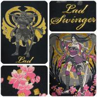 LAD SWINGER/楽土】和柄刺繍入り半袖ポロシャツ 『戦国娘(次女)』 (54847)