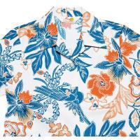 かりゆしウェア(沖縄アロハシャツ)レディース MANGO 鳳凰バティック オープンシャツ オフブルー