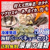 特大の天然物有頭海老をはじめ、ホタテ貝、マグロステーキ、イカの開き、カキが楽しめるバーベキューセット...