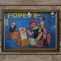 ポパイのレトロなミニポスター☆ B4用紙サイズのポスターで、ナチュラルな木製フレームにセットされてい...