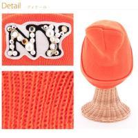 レディース ニット帽 NY ロゴ アップリケ ニット帽 たっぷり パール ビジュ でカジュアルガーリーに!! 30代 40代 ファッション