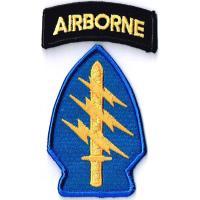 ワッペンサイズ特殊部隊群章8cmx5cm+ABタブ2cmx6cm刺繍ミリタリーワッペンアイロンパッチ