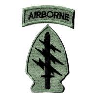 ワッペンサイズ特殊部隊群章8cmx5cm+ABタブ2cmx6cmミリタリーパッチ刺繍ワッペンアイロン...