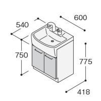 ノーリツ 洗面化粧台 600mm LSBB-60EWNK1B ベースキャビネット 両開き扉タイプ  シングル ホワイト  代引不可