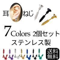 ネジピアス 両耳用 2個セット ねじ 釘 くぎ 極める耳元 ユニークデザイン ボディ ピアス ポイント消化