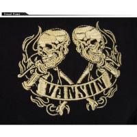 VANSON[バンソン] ダブル スカル バイク ハンドル 刺繍 ロングTシャツ/NVLT-801