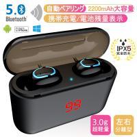 ワイヤレスイヤホン Bluetooth 5.0 ヘッドセット 左右分離型 TWS 2200mAh収納ケース ノイズキャンセリング 両耳 防水 日本語音声 マイク 運動