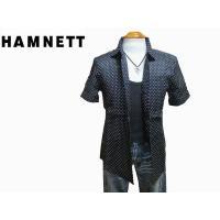 ◆新品 ハムネット リネン半袖シャツ ドット黒