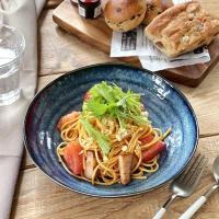 カレー皿 パスタ皿 おしゃれ 和食器 美濃焼 大皿 深皿 窯変ネイビー6.8深皿