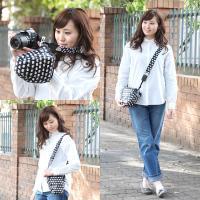 カメラケース camera case 一眼レフ用 「カメラのお洋服 スリム」 ビニールコーティングタイプ ハッピーエレファントネイビー|mi-na|04