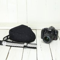 カメラケース camera case 一眼レフ用 「カメラのお洋服 スリム」 エレガントブラックレディードット|mi-na|03